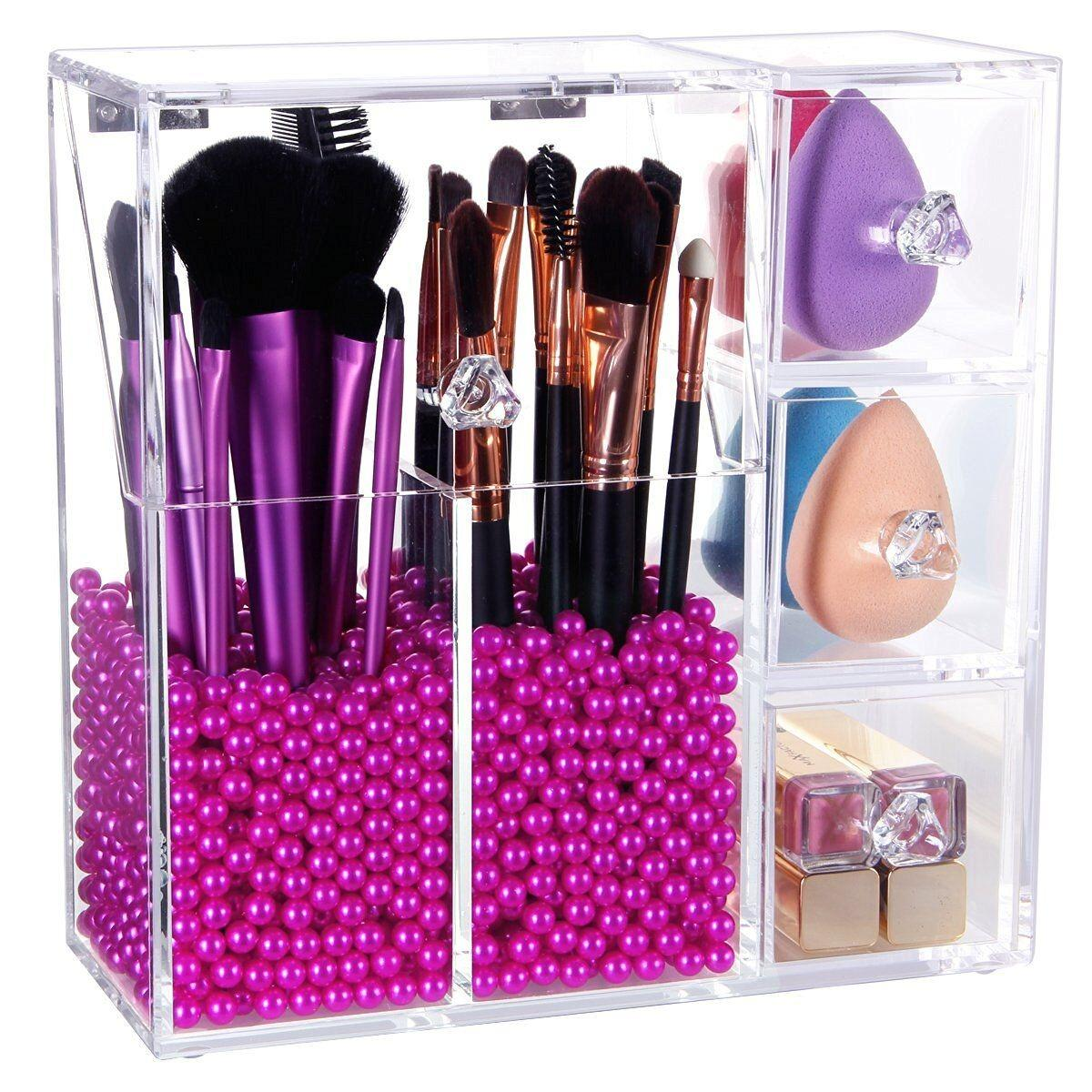 Xsential Clear Acrylic Make up Brush Organizer Tools Lipstick Nail ...