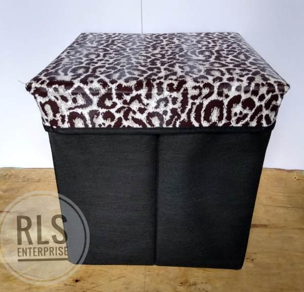 & Ottoman Chair Storage Chair Box - Black Cheetah Design Philippines