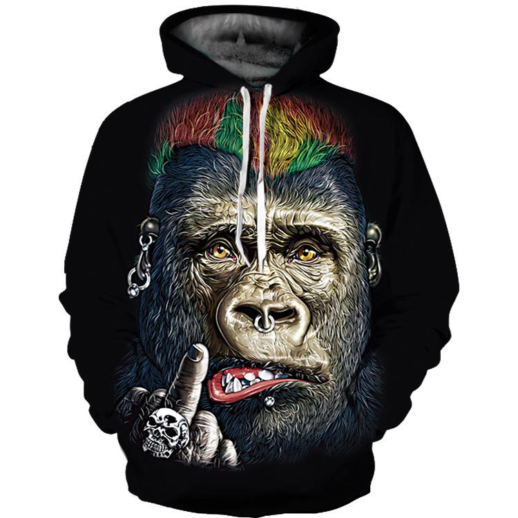 Men Long Sleeve 3D Monkey Print Hoodies Sweatshirt