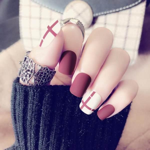 O-New 24Pcs Fashion Nail Art Full False Artificial Fake Nails Tips ...