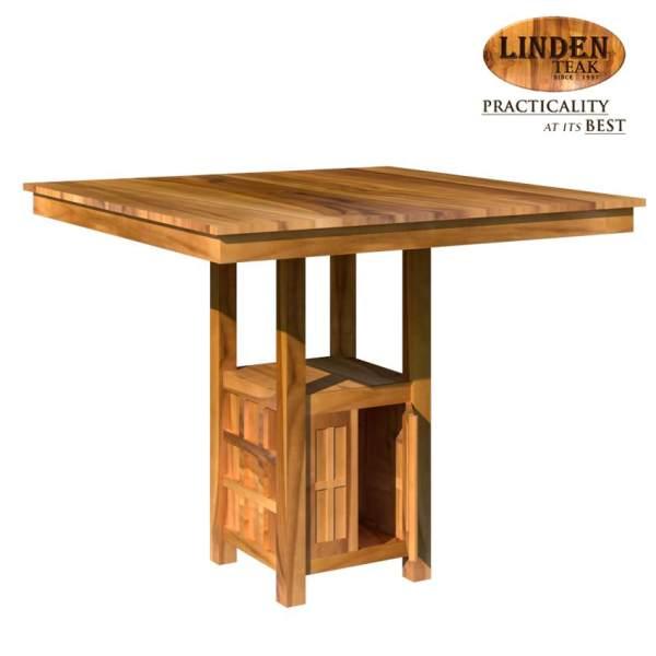 Linden Teak Handcrafted Solid Wood Square Bar Table