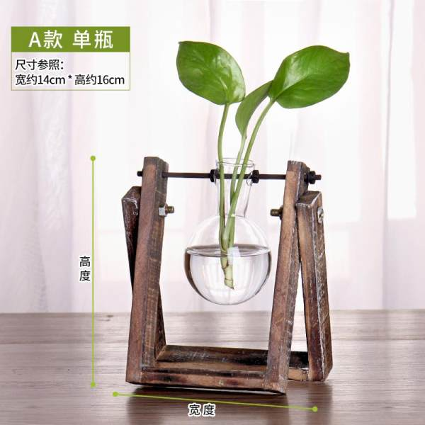 Creative Wooden Stand Grow in Water Container Epipremnum Aureum Plant Glass Flower Holder Living Room Small Vase Office Desk Surface Panel Decorations And Ornaments