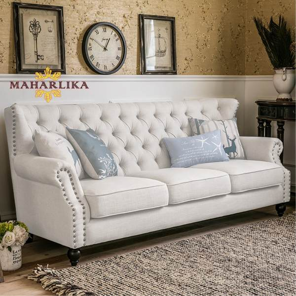 MK 3 Seaters Luxurious Sofa Tufted Cushion Sofa Bed With Pillows (White)  Philippines