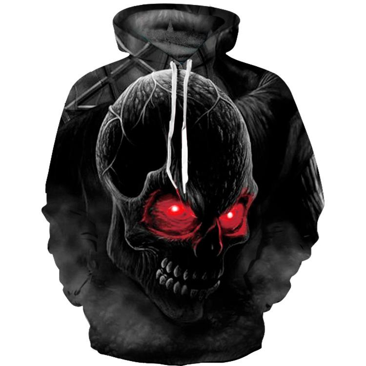 Men Long Sleeve 3D Red Eye Skull Print Hoodies Sweatshirt