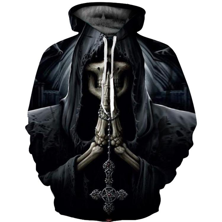 3D Skeleton Praying Print Men and Women's Hoodie