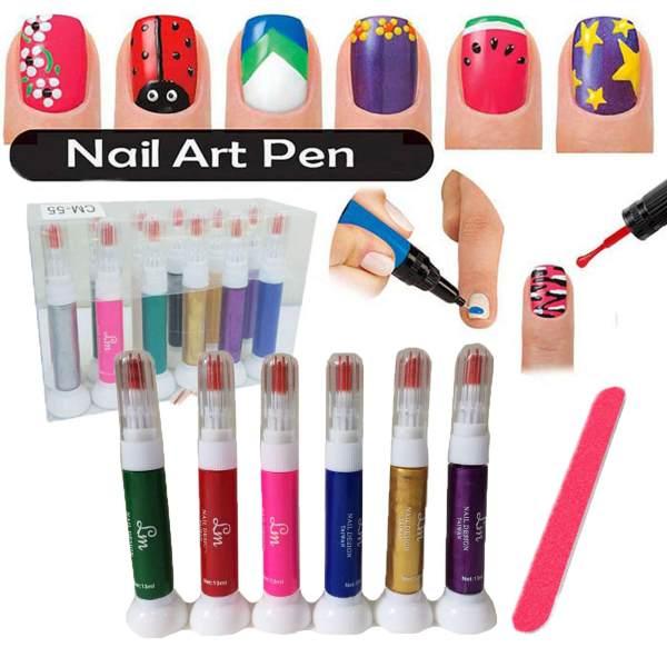 6 Colors 2-in-1 Brush and Art Pen Set Nail Art Pen for 3D Nail