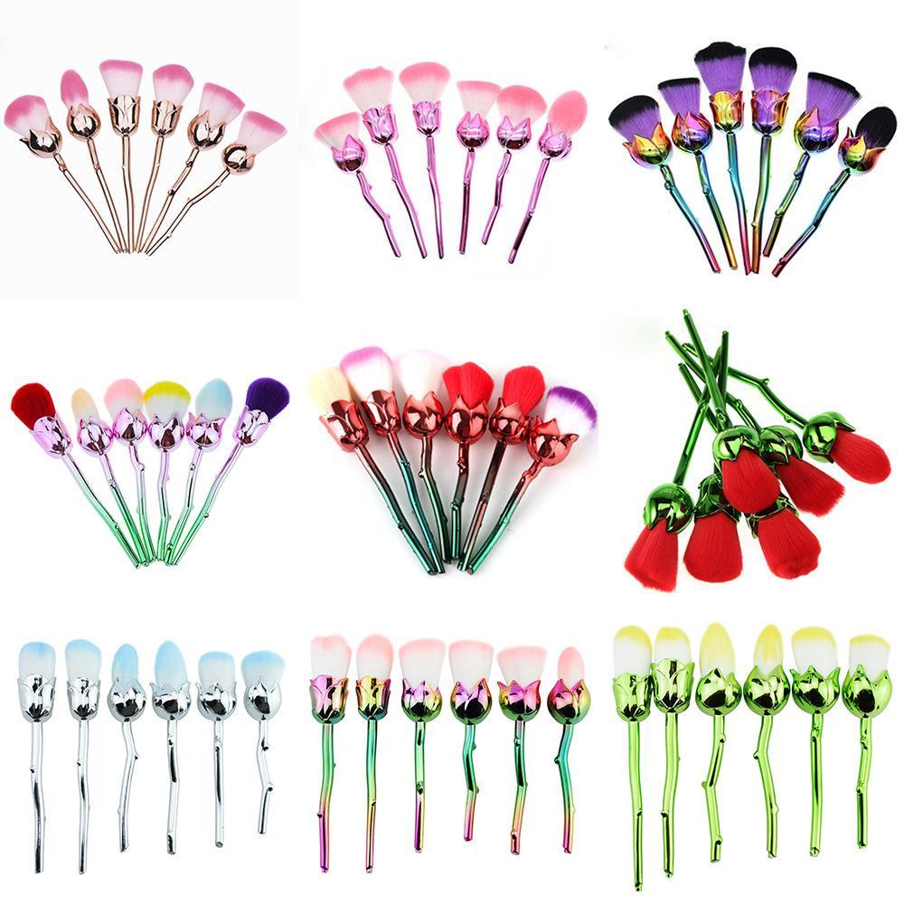Crystal Unicorn Rainbow Make Up Brush Set High Quality Foundation Blusher Powder Brush Tools Flat Eyeliner