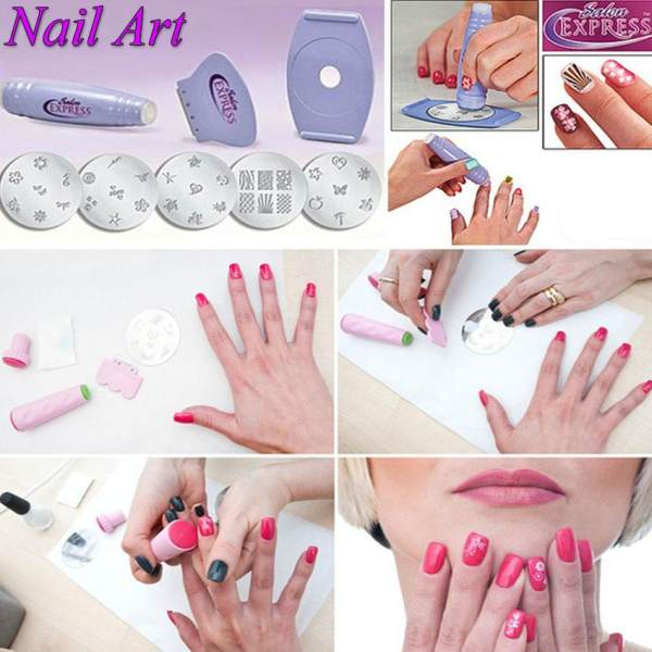 New Salon Express DIY Nail Art Stamping Kit 5 Pre- designed Nail Design Stamper Philippines