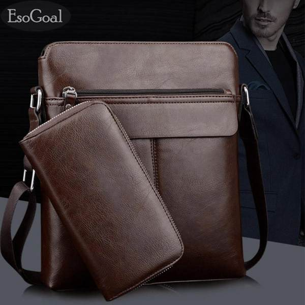 EsoGoal Mens Shoulder Bag Vintage Leather Briefcase Messenger Bags Business Handbags with Wallet - intl Philippines