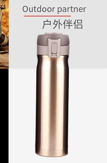 Premium Tumbler Ultra-microwave Liner Copper Plating Material 304 Stainless Bottle Thermos w/ Handle Portable Travel Water Bottle Sports Hot and Cold 500ml
