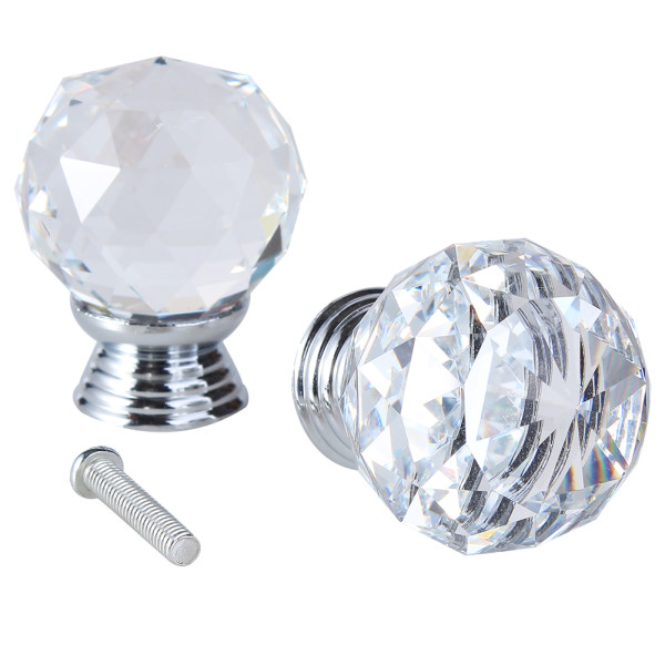 2pcs Glass Crystal Cabinet Drawer Furniture Knob Door Handles Kitchen Pull  Handle Door Wardrobe Hardware 30mm ...
