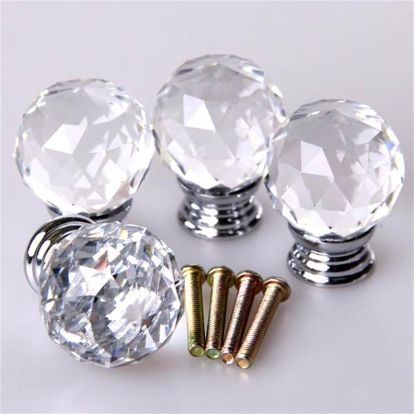 4pcs/set Crystal Glass Acrylic Door Knobs Drawer Cabinet Furniture ...