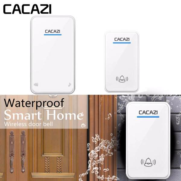 CACAZI White Wireless Doorbell Waterproof US Plug 300M Remote Smart Door  Bell Chime 1 Puch Button ...