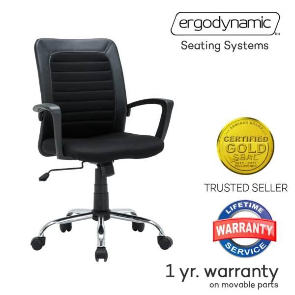 ergodynamic emc 169blk mid back mesh office chair furniture black