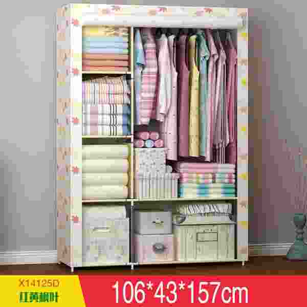Family Than Simple Wardrobe Student Dormitory Steel Reinforcement Non Woven  Wardrobe Folding Cloth Storage Closet Casual ...