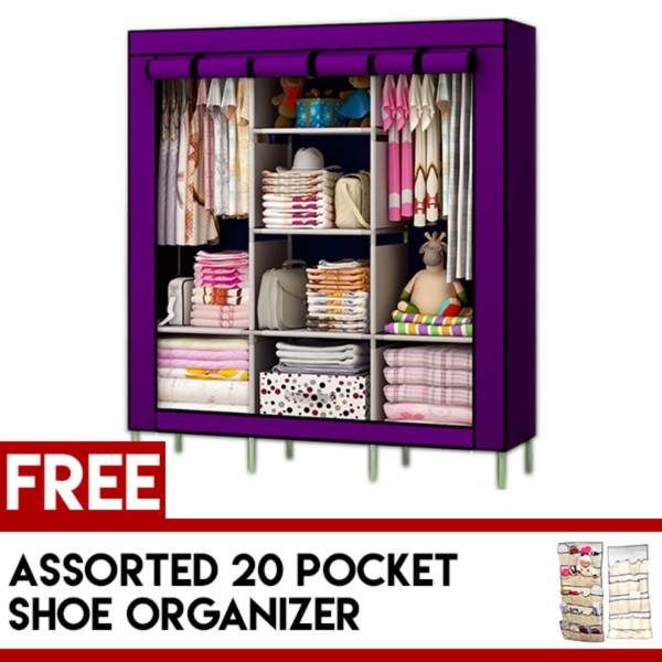 Fashion Clothes Wardrobe Storage Cabinet Dust Cover With Free Hanging Shoe  Organizer Philippines