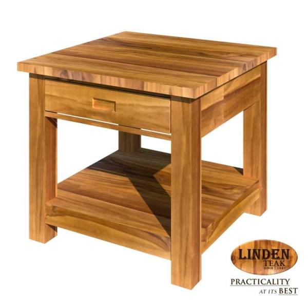 Linden Teak Handcrafted Solid Teak Wood Minimalist Accent Side Table - Teak side table with drawer