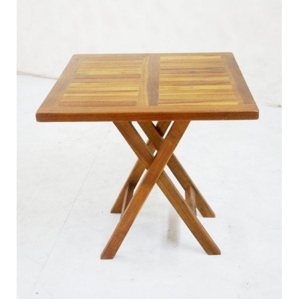 Linden Teak Handcrafted Solid Teak Wood Small Folding Table Square Furniture  (Gold Teak Series Indoor Design) Philippines