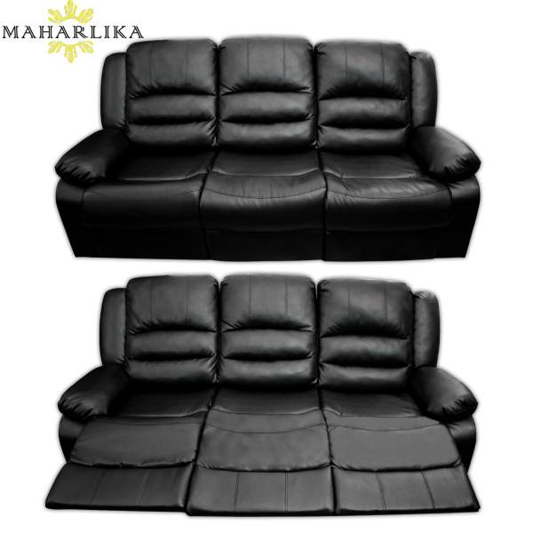 MK 3 Seats Premium Quality Pure Comfort Leather Designed Convertible Reclining  Sofa Bed Lazy Seat Recliner Black Philippines
