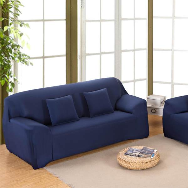 Navy Simple Four Seasons Solid Color Elastic Sofa  Cover/slipcover(M:145 185)   Intl Philippines