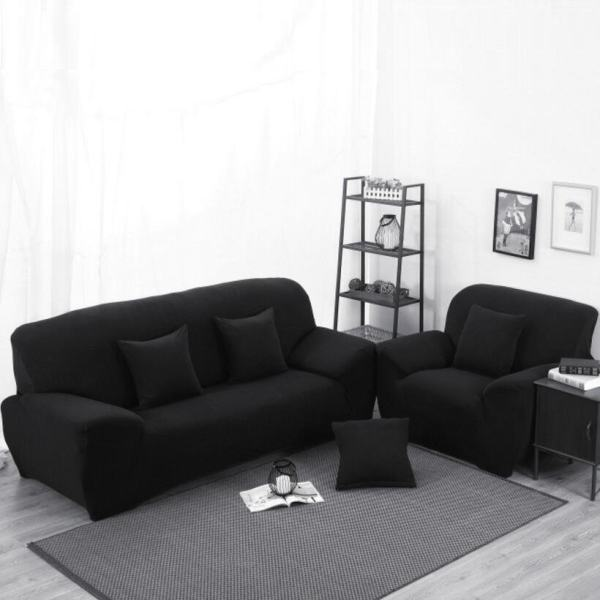 NineNine High Elasticity Anti Mite Black Chair Covers Sofa Cover Slipcover  Couch 2 Seater   Intl Philippines