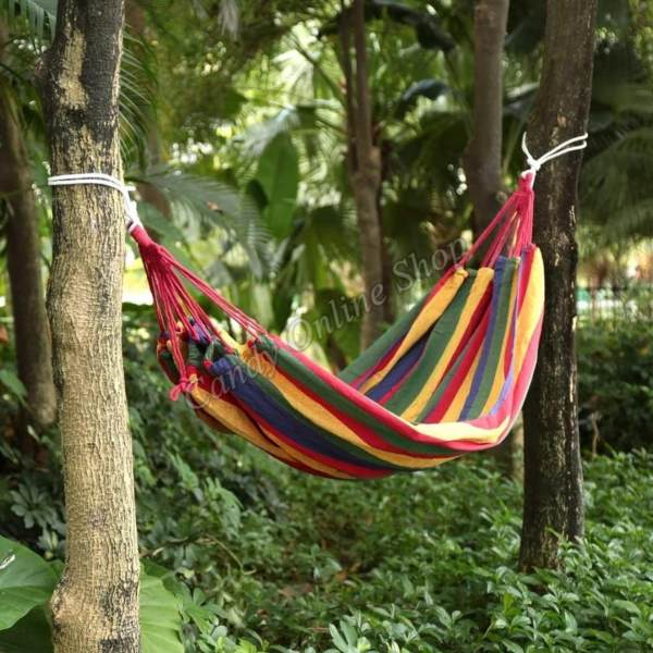 Outdoor Color Striped Hammock Thick Canvas Hammock Indoor Leisure C&ing 180 x 80cm Philippines & Outdoor Color Striped Hammock Thick Canvas Hammock Indoor Leisure ...