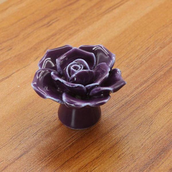 Rose Flower Ceramic Knobs Drawer Cupboard Door Porcelain Pull Handle ...
