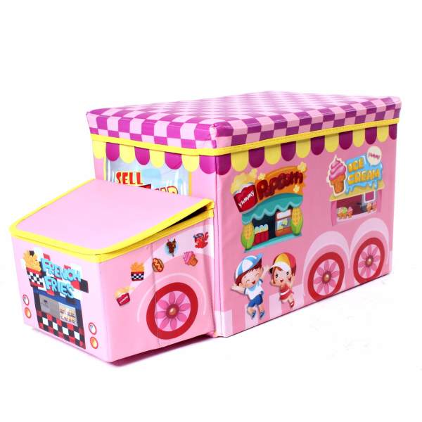 Wallmark Foldable Ottoman Storage Box Chairs-Food Park (Pink ...