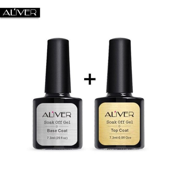 2 Pcs Top Coat + Base Coat Uv Diamond Nail Gel Polish Primer Nail ...