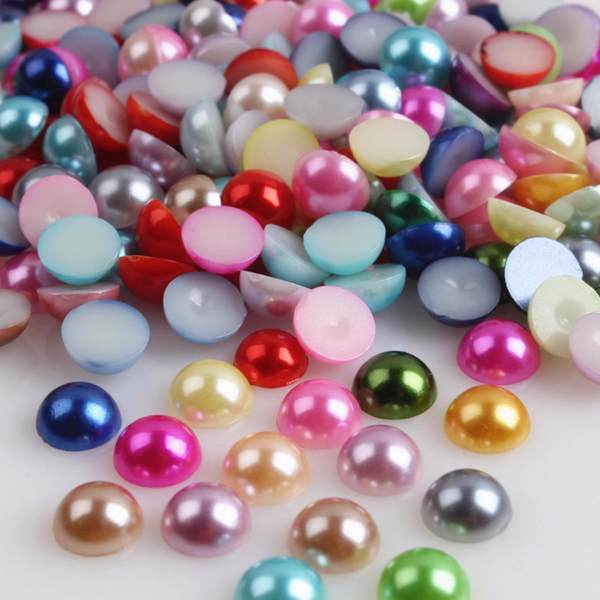 2000pcs Half Round Nail Art Stickers Flat Back Pearls Beads Sticker ...