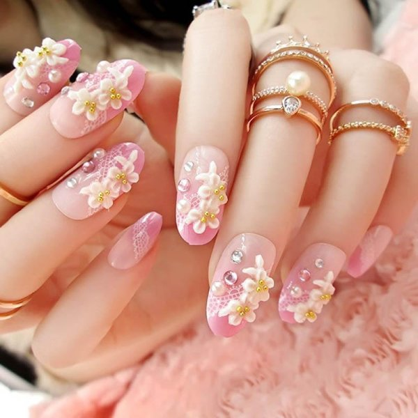 24 Pcsset Full Nails Tips With Glue 3d Carved Flowers Shining