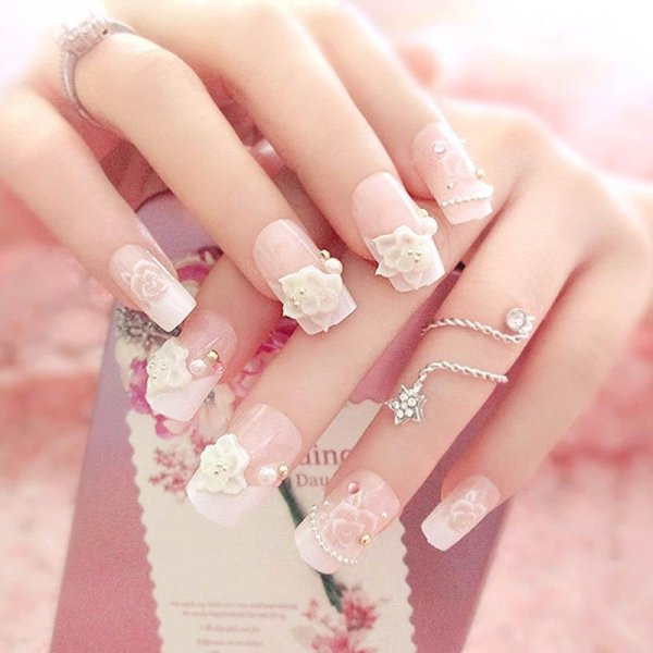24 Pcsset Full Nails Tips With Glue 3d Flowers Beads Wedding Bride