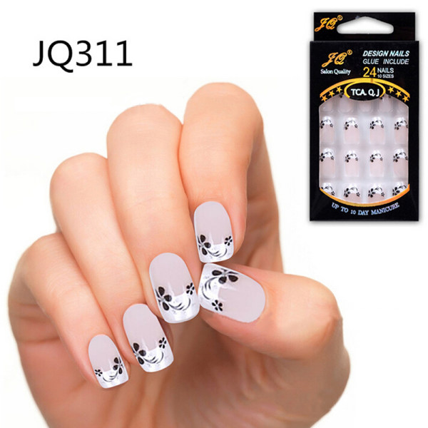 24pcs Stunning Designs French Acrylic Fake False Full Nail Art Tips