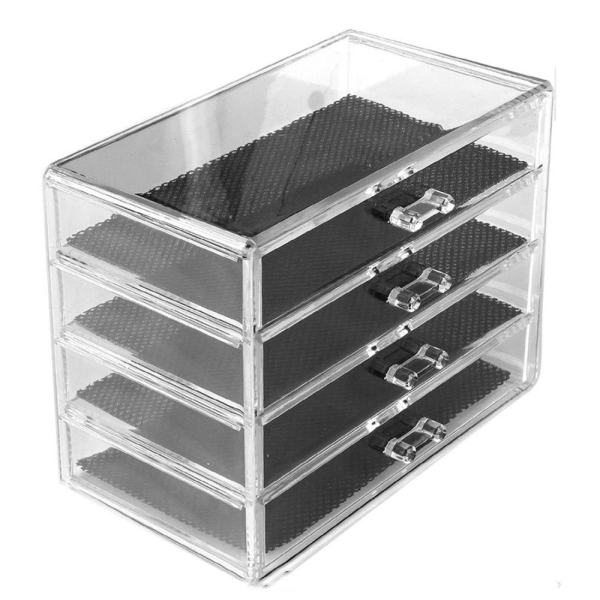4 Layers Clear Cosmetic Drawers Jewelry Makeup Storage Display Organizer Box Make up Brush Eyeshadow Nail Varnish Polish Case Container Stand Holder Rack Philippines