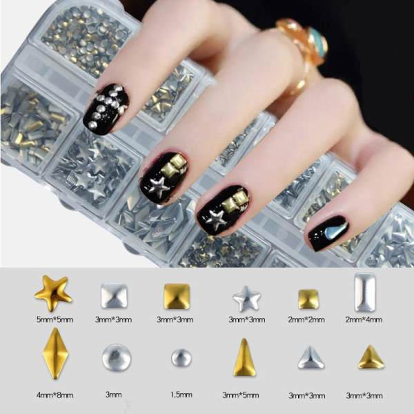 5000 Pcs Rhinestones Nail Art Case Assorted Designs For Acrylic Tips