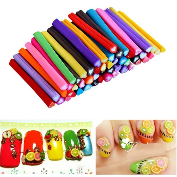 50pcs 3d Nail Art Fimo Canes Stick Rods Polymer Clay Stickers