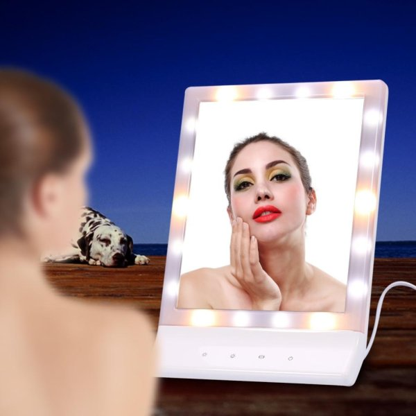 90°Rotating LED Light Makeup Cosmetic Mirror Magnifying Warm Lighting Table Screen Mirror - intl Philippines