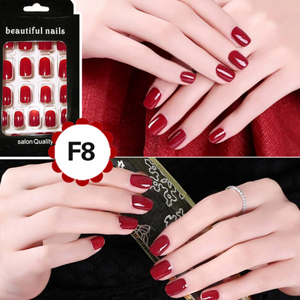Cheap Fashion Fake Nails False Tips Full Acrylic French Art Designer 24 Pcs Nail Wine Red - intl Philippines