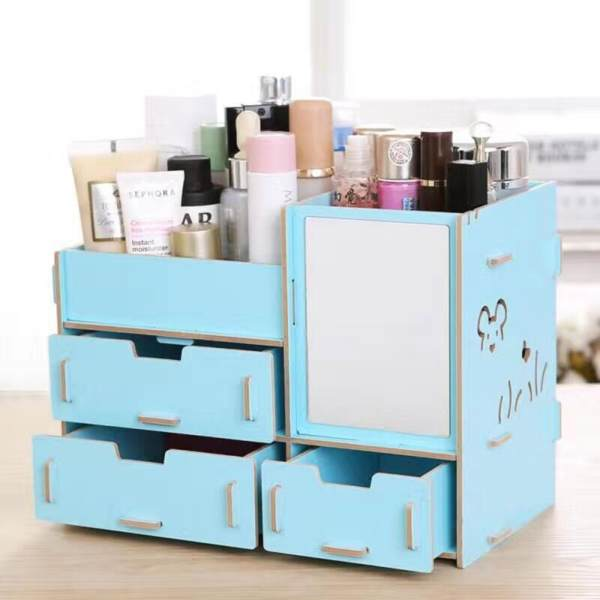 DIY Multifunctional Wooden Cosmetic Desktop Storage Box Make-up Organizer Philippines