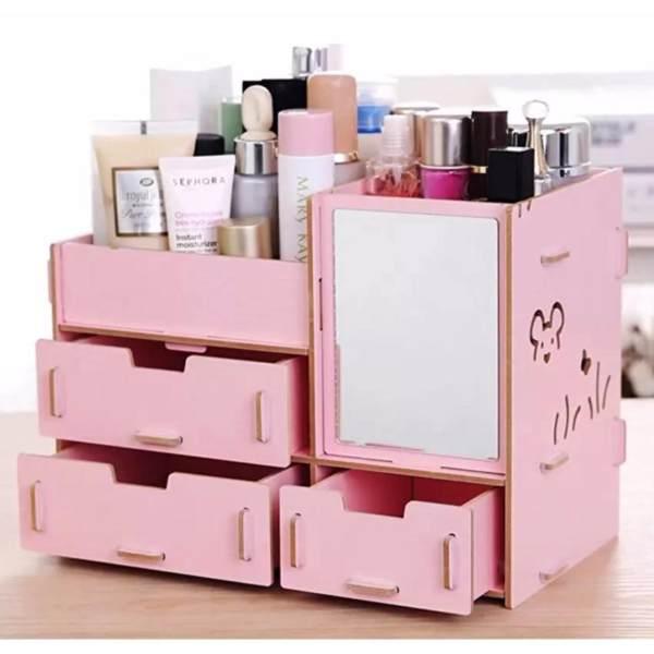 Do it yourself wooden makeup organizer storage box baby pink philippines solutioingenieria Choice Image