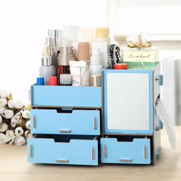 Do it yourself wooden makeup organizer storage box blue philippines solutioingenieria Choice Image