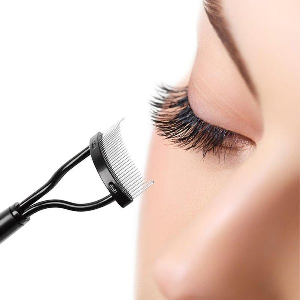 Eyelash Comb Eyebrow Grooming Brush Curler Stainless Steel Mascara Applicator - intl Philippines