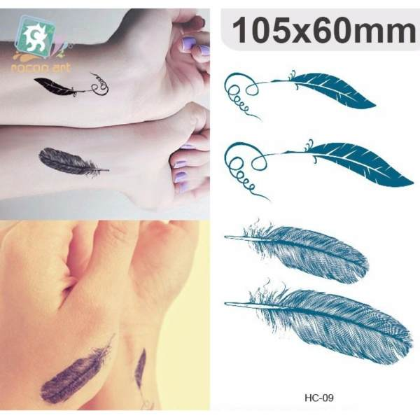 Feather - TATTOO ART Temporary Tattoo 10x15 cm  HC-09 Philippines