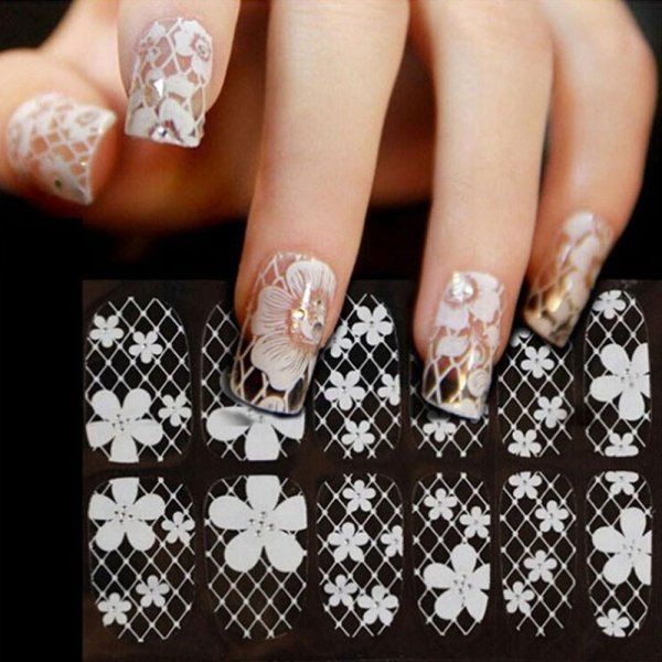Lace Diamond Flower Stickers Nail Art Tips - intl Philippines