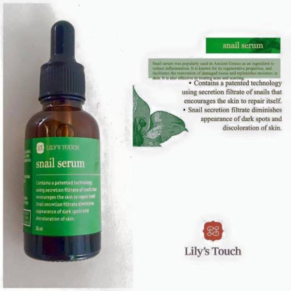 Lilys Touch Snail Serum 30ml with FREE Pilaten Black Head Remover Pore Strip Philippines