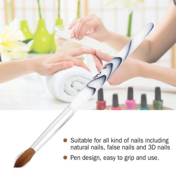Nail Art Brush White Acrylic Handle Synthetic Hair Art Pen Manicure ...
