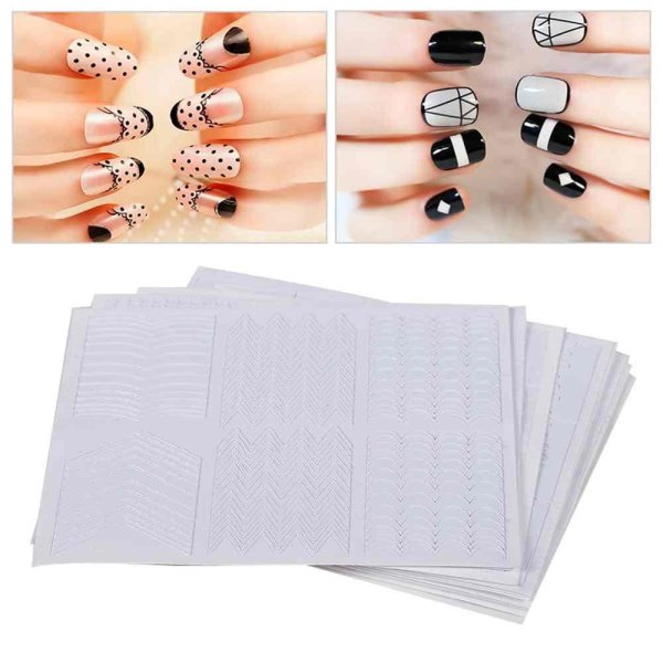 Nails Decals Stencil Tips Guide French Swirls 12Pcs Manicure Nail ...