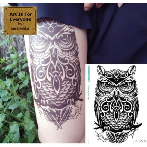 Polynesian Owl - Art Is For Everyone! by:missholika Premium Quality 3D Temporary TattoosLC-507 Philippines