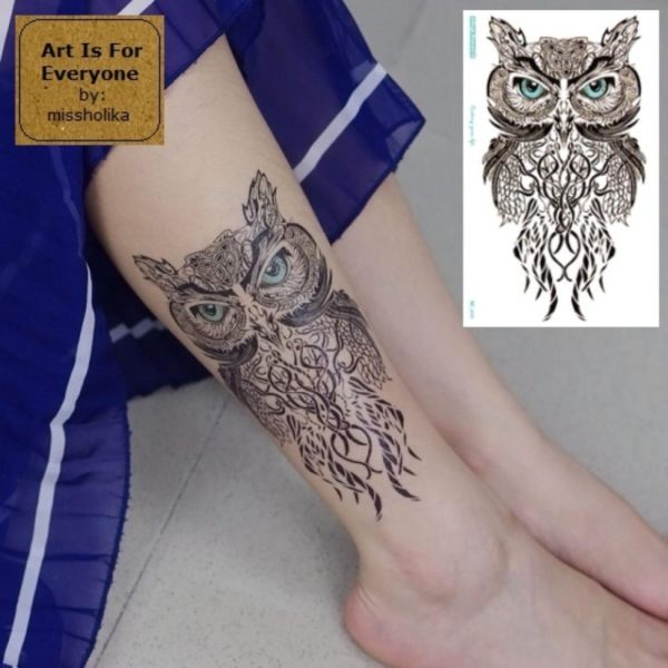 Polynesian Style Owl - Art Is For Everyone! by:missholika Premium Quality 3D Temporary Tattoos MC-690 Philippines
