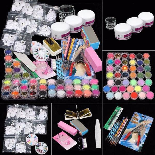 Professional Acrylic Glitter Color Powder French Nail Art Deco Tips Set - intl Philippines